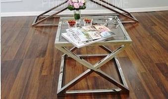New chrome glass side table