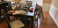 rectangular brown wooden table with four chairs dining set Morrisville, 27560