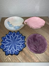 """Lot of 4 different handmade clay pottery 4"""" trinket ring dishes signed"""
