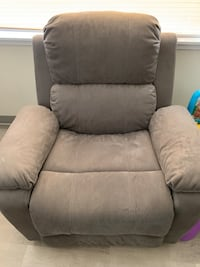 Grey fabric recliner