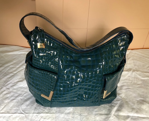 1df408bbc719 Authentic Michael Kors hobo bag in Croc embossed blue patent leather ...