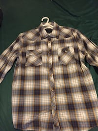 black, brown, and white plaid button-up sport shirt Surrey, V3S