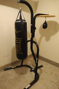 black Everlast heavy bag with stand null