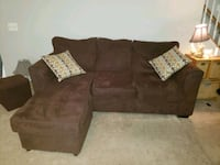 Chocolate brown suede couch with leg extension  Alexandria, 22310