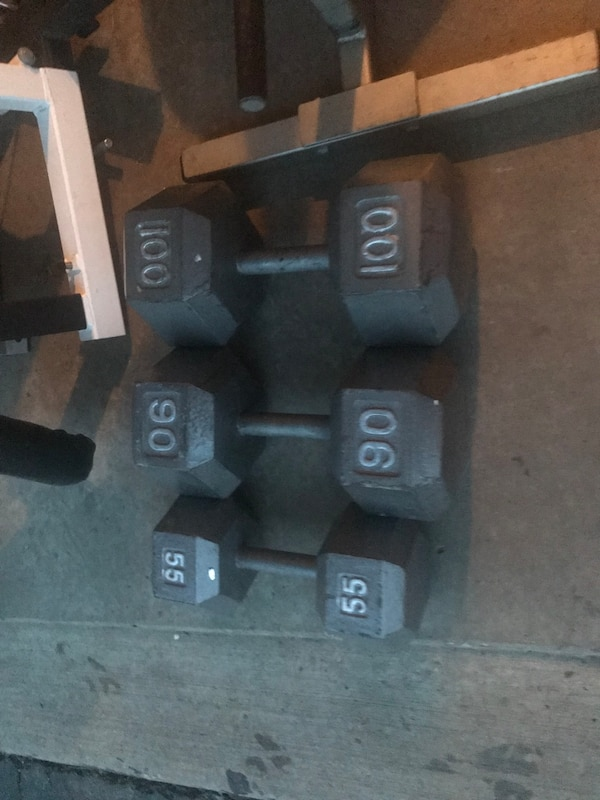 A few individual dumbbells 55, 90,100