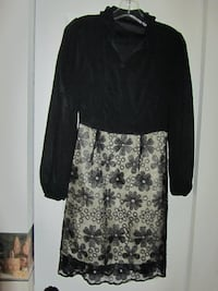 black and white floral long-sleeved dress Thornton