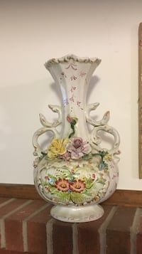 white, green, and yellow floral embossed ceramic vase Hudson, 01749