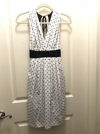 Eva Franco waist-tied, blk/wht dot dress. Size 8 FALLSCHURCH