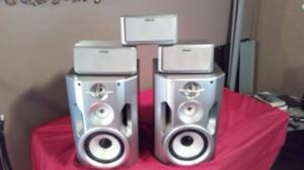 two gray and black speakers