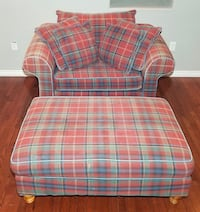Red, Green Plaid Mix Polyester Oversized Armchair and Matching Ottoman