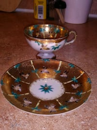 Hand painted Japanese teacup n saucer