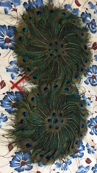 Peacock feather decorative fans $15 each or 30 pair Surrey
