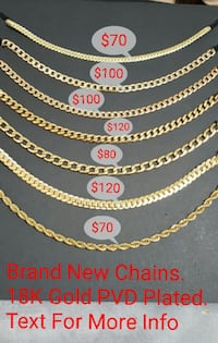 18K Gold PVD Plated Chains Brampton