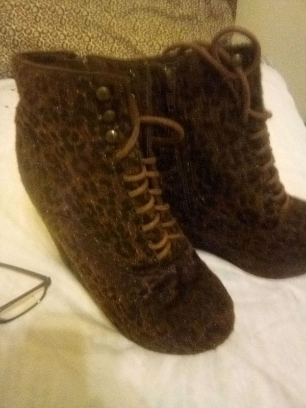 a7b5462a818 Animal print wedge ankle boots