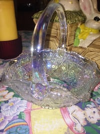 VINTAGE 1950 IRIDESCENT CARNIVAL GLASS EASTER BASKET (Large) Perfect! Quincy, 02169
