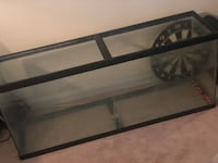 rectangular black framed glass pet tank