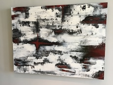 Red, black, and white abstract oil painting wall decor