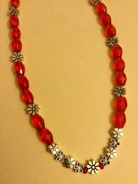 red and silver beaded necklace Alexandria, 22311