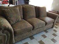 brown and green flora micro-suede 3-seat couch Dallas, 75243