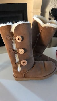 UGG gently used Brown and white fur boots