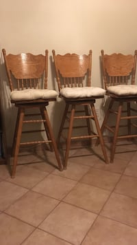 3 Wooden bar stools with cushions