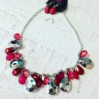 Silver and red beaded necklace Ashburn, 20148