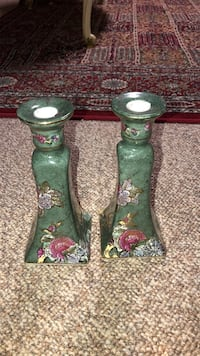 two green-and-red floral ceramic vases Newmarket, L3X 1S3
