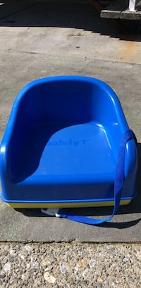 blue and white plastic chair