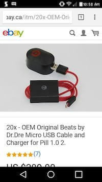 OEM original beats by Dr.Dre micro USB cable and charger for pill 1.0.2. screenshot Winnipeg, R2Y 0R8