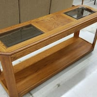 Vintage wood and glass hallway couch table