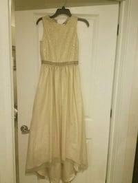 women's light gold sleeveless high low dress