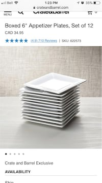 Crate & barrel appetizers plates.  Used once for a party. 10 in total   Toronto, M5E 1Z8