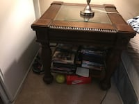 Brown wood night stand & matching coffee table
