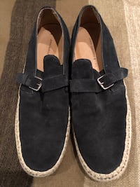 John Varvatos blue suede slip on loafers