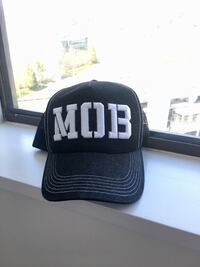 black and white MOB embroidered trucker cap Burnaby, V5C 4B3