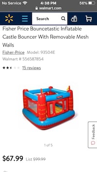 Fisher price inflatable castle bouncer with removable walls  Orange, 22960