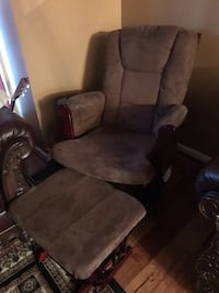 brown wooden frame gray padded glider chair Laurel, 20724