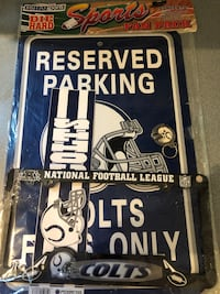 Indianapolis Colts sign,key chain, bumper sticker, license plate cover