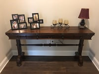 Used Brown Wooden Table With Black Metal Base For Sale In