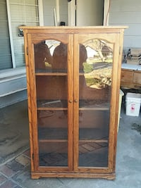 brown wooden framed glass cabinet Rialto, 92376