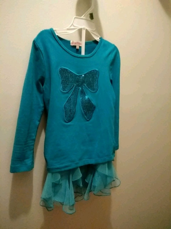 blue and black butterfly print long-sleeved shirt