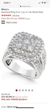 silver-colored ring with clear gemstones 65 km