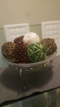 Decorative frosted glass bowl and fall ornaments  Surrey, V3T 5E2
