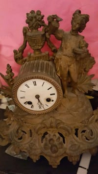 Antique Bronze Clock with Stand