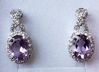 Sterling silver amethyst and cz earrings Baltimore