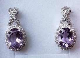 Sterling silver amethyst and cz earrings