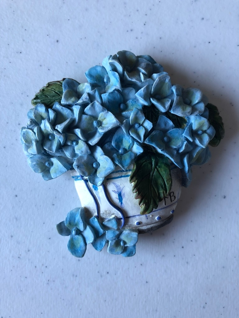 Photo Avon Blue Flowers with Green Leaves Magnet-75 cents