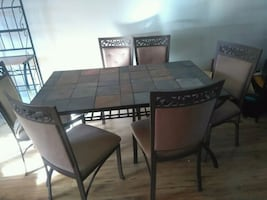 Kitchen/Dining room table with 6 chairs, coffee, lamp & so