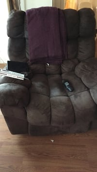 gray suede recliner sofa chair