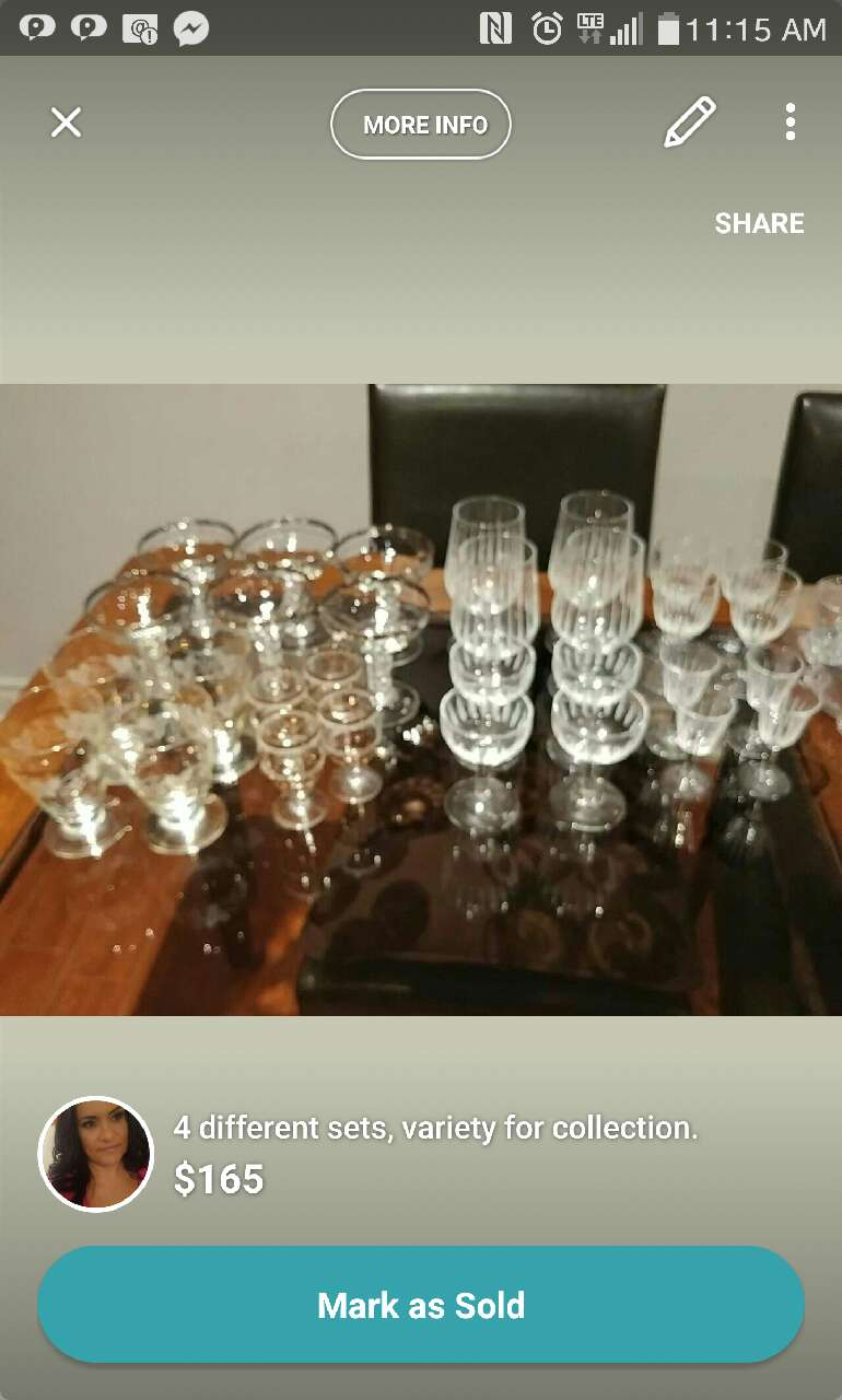 assorted clear footed wine glass lot screenshot
